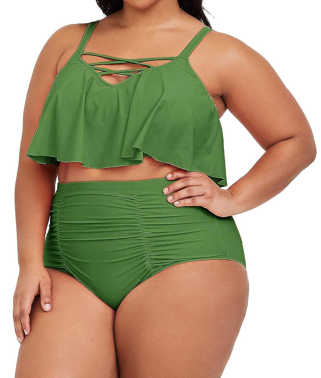 22f877a270b Amazon.com  YONYWA Women Plus Size High Waisted Bikini Sets Ruffle Bandage  Lace Up Swimsuits Tankini  Clothing