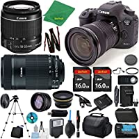 Canon EOS 7D Mark II Camera + 18-55mm IS STM + 55-250mm STM + 2pcs 16GB Memory + Case + Reader + Tripod + ZeeTech Starter Set + Wide Angle + Tele + Flash + Battery + Charger