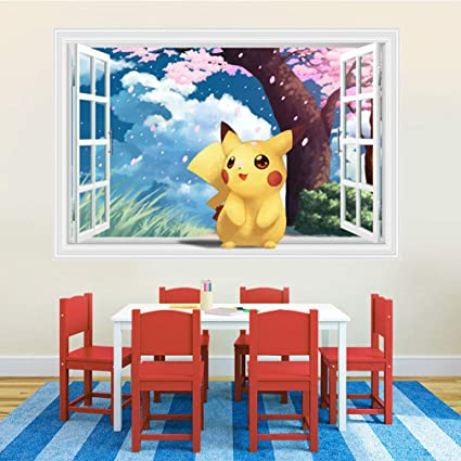 Stickers Muraux De Dessin Animé Pokemon Pikachu Stickers De