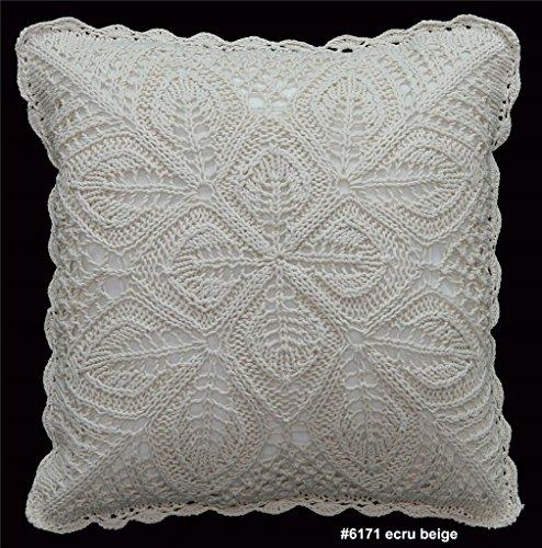 (Creative Linens Cotton Crochet Pillow Cushion COVER 16x16