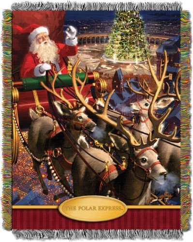 Polar Express, Santa Flight Woven Tapestry Throw Blanket, 48