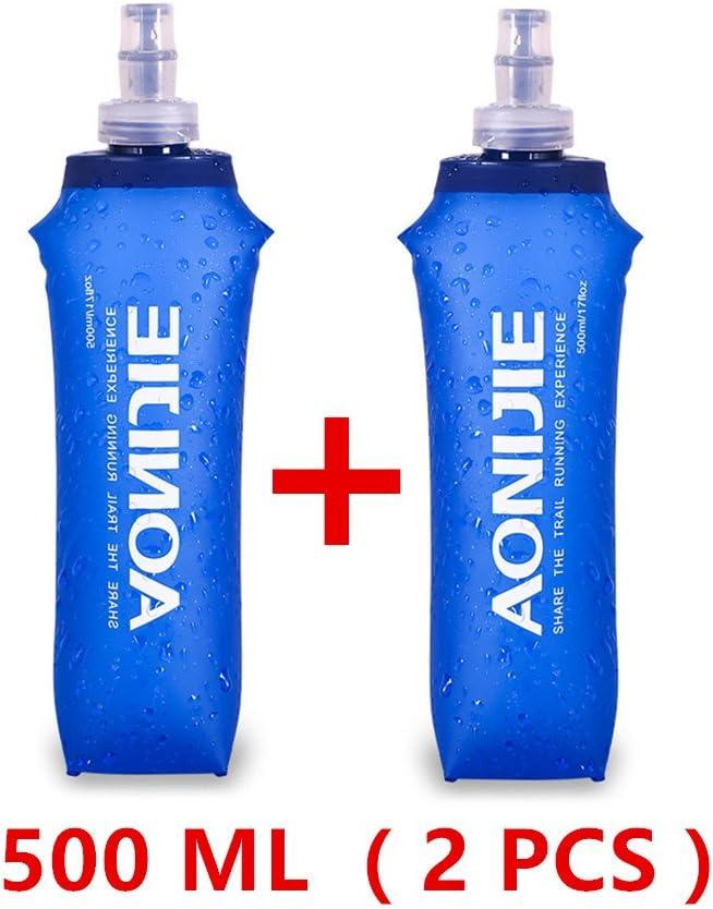 AONIJIE 2 Unidades 250 ml / 500 ml Plegable Deportes BPA Libre de PVC Botella Plegable para Deporte Flask Botella de Hidratación