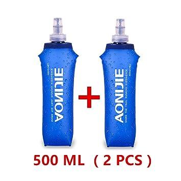 AONIJIE - Botella plegable para deporte, de poliuretano termoplástico sin bisfenol A, 2 unidades, 250 ml / 500 ml, 500ML: Amazon.es: Deportes y aire libre