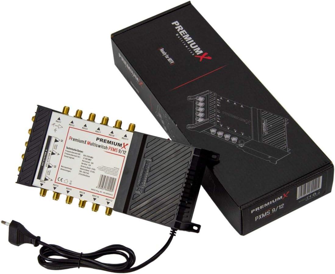 Satverteiler 2 SAT f/ür 12 Teilnehmer PremiumX Multischalter Set 9//12 Multiswitch 2X Multifeed 3/° Rocket Quattro LNB 40x F-Stecker