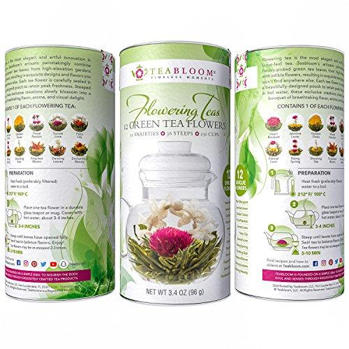 Teabloom Natural Flowering Tea - 12 Unique Varieties of Blooming Tea Balls - Hand-Tied Green Tea & Edible Flowers - 12-Pack Gift Canister - 36 Steeps, Makes 250 Cups by Teabloom (Image #3)