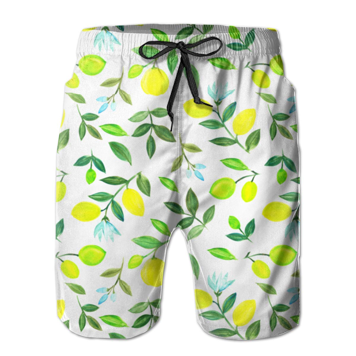 FASUWAVE Mens Swim Trunks Watercolor Lemons Quick Dry Beach Board Shorts with Mesh Lining