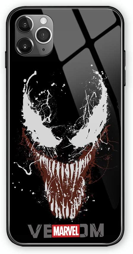 Venom Call Led Flash Luminescent Glass case for iPhone 11 Pro Max, Xr, SE2/7/8 Plus, Galaxy S10, Note10, S20 Plus, Marvel Cinema Anti-Scratch Mobile Phone Glass Cover (iPhone 7/8 Plus)