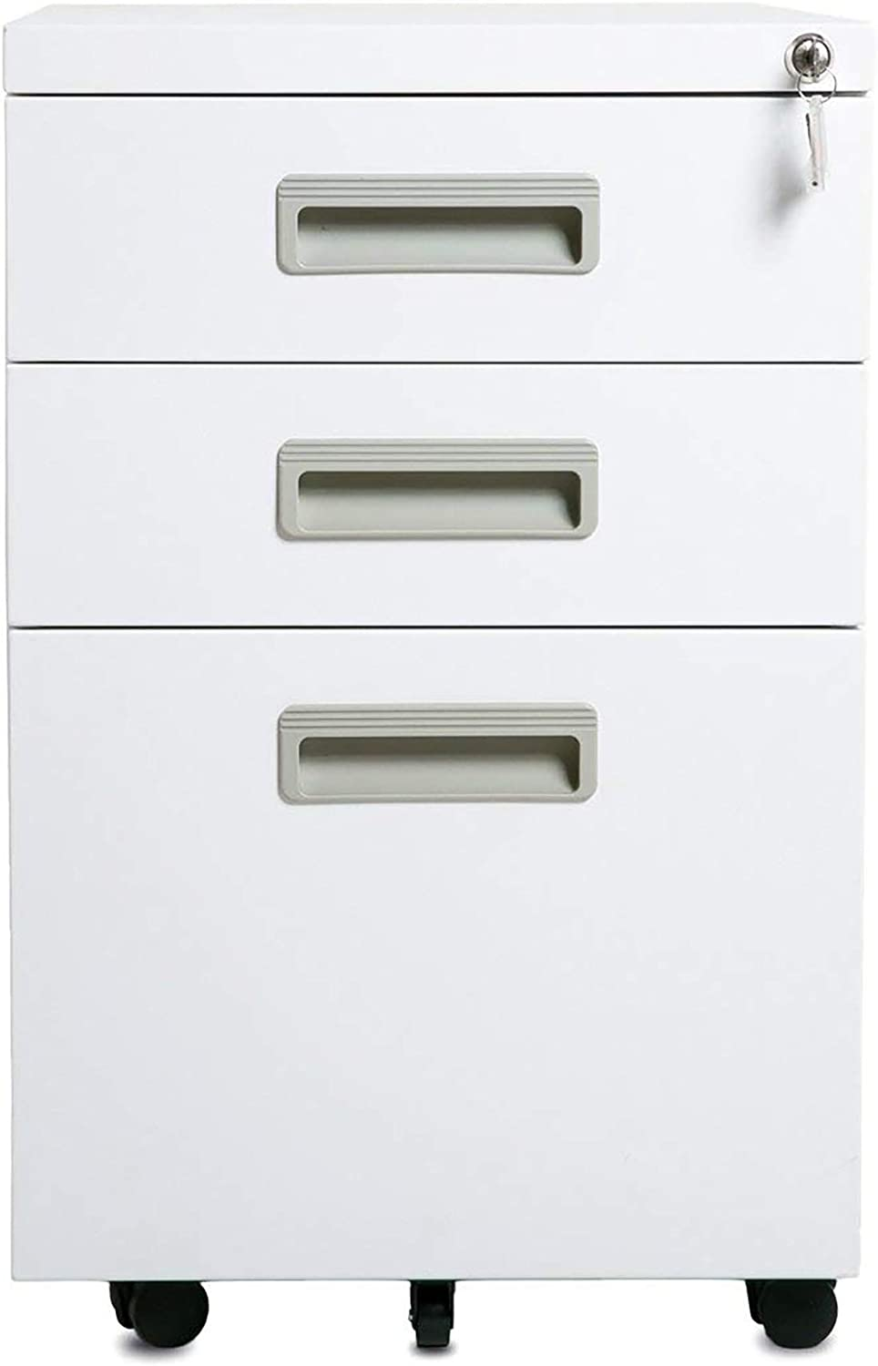Office 3-Drawer Mobile Metal File Cabinet with Keys White with Plastic Handle 15.5 x 20.5 x 24.5
