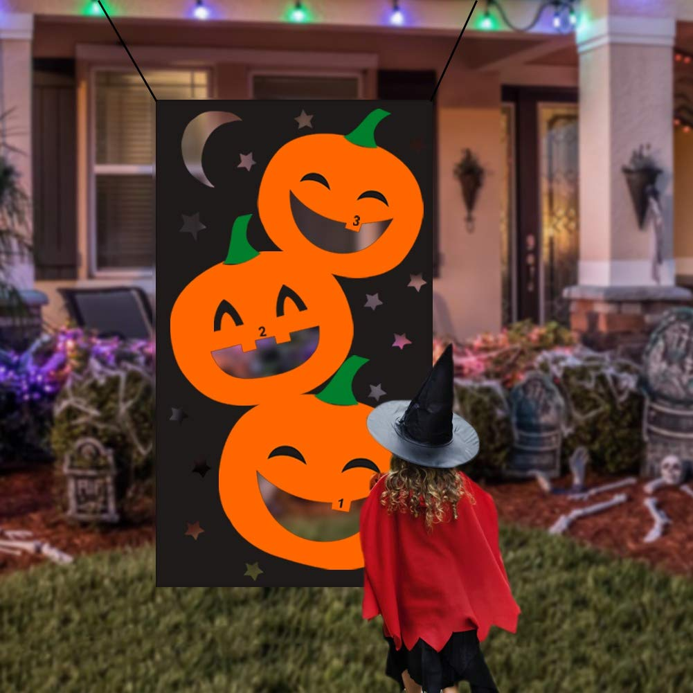 Lulu Home Halloween Toss Games, Pumpkin Bean Bag Party Games for Kids and Decorations with 3 Bean Bags by Lulu Home
