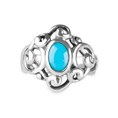 68e5ecd557be03 Carolyn Pollack Sterling Silver Sleeping Beauty Turquoise Ring - Size 5