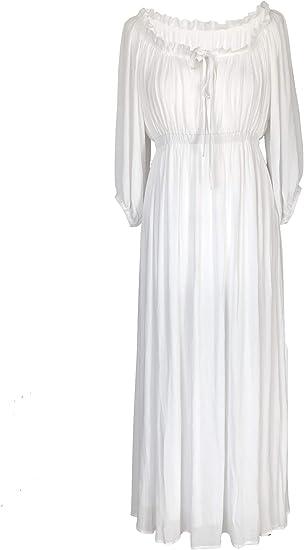 Kim Zy Robe Longue Style Boheme Medieval Regence Robe Estivale Blanche Pour Femme Amazon Fr Vetements Et Accessoires