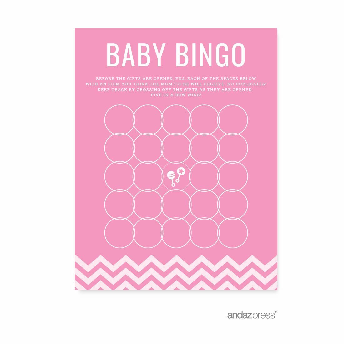 Andaz Press Pink Chevron Girl Baby Shower Collection, Games, Activities, Decorations, Baby Bingo Game Cards, 20-pack