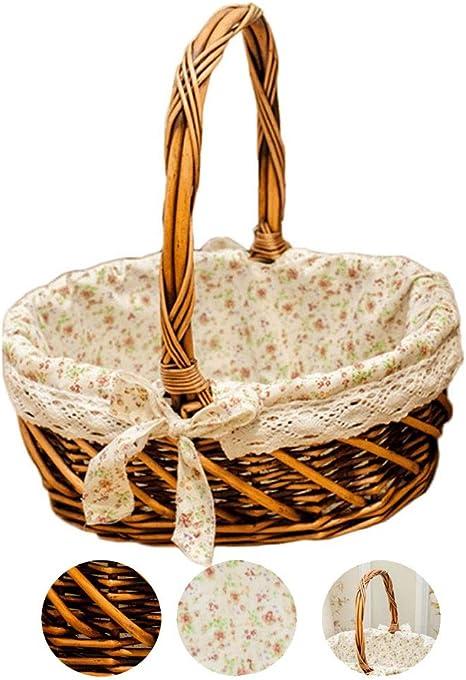 Portable Storage Basket Iron Fruit Basket with Cloth Liner Handheld Nursery Baskets