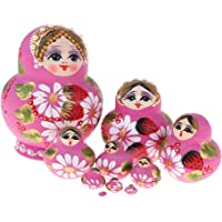 Prettyia Pink Flower Girls Printed Russian Nesting Dolls Babushka Matryoshka Kids Wooden Toys
