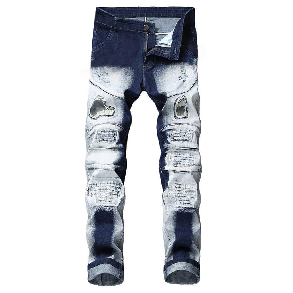 ea576fe7a4cba2 NUWFOR Men's Stretchy Ripped Skinny Biker Jeans Destroyed Taped Slim Fit  Denim Pants White at Amazon Men's Clothing store: