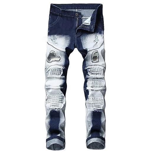 9d1cf80743e5e NUWFOR Men s Stretchy Ripped Skinny Biker Jeans Destroyed Taped Slim Fit  Denim Pants(Blue