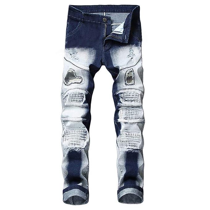 Pantalones Vaqueros Rotos Hombre, SUNNSEAN Jeans Pantalones ...