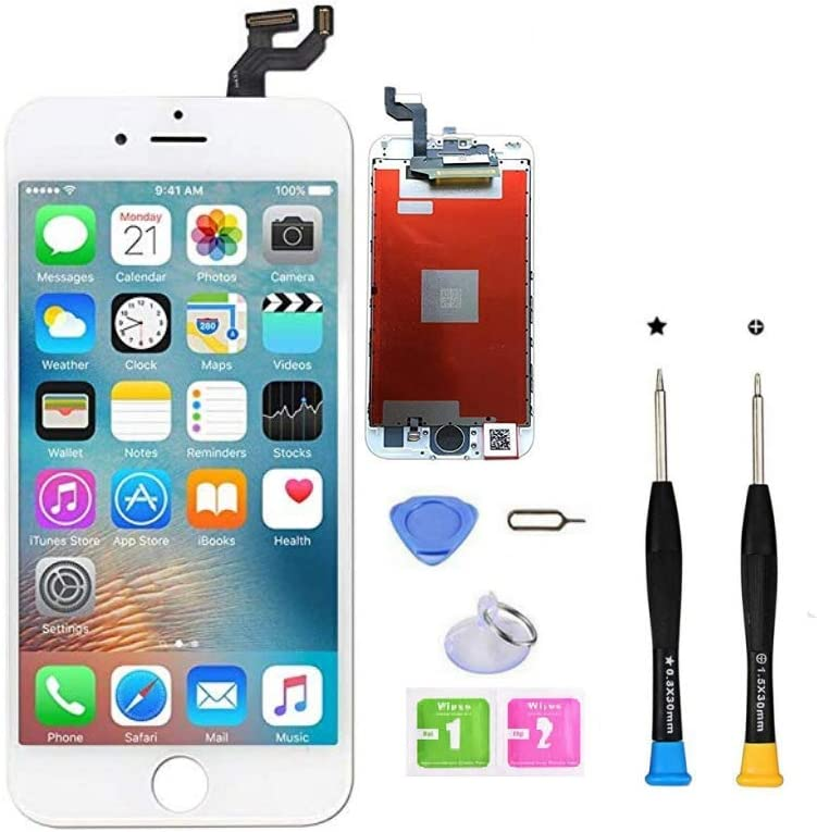 CLWHJ Premium Screen Replacement Compatible with iPhone 6s 4.7 inch Full Assembly -LCD Touch Digitizer Display Glass Assembly with Tools, Fit Compatible with iPhone 6s (White)