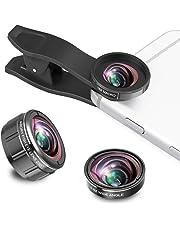 ARORY Lente per cellulare - Kit obiettivo per fotocamera iPhone Lente universale 4 in 1 su smartphone Lente teleobiettivo Obiettivo macro grandangolare Obiettivo macro filtro 180 ° Fisheye per