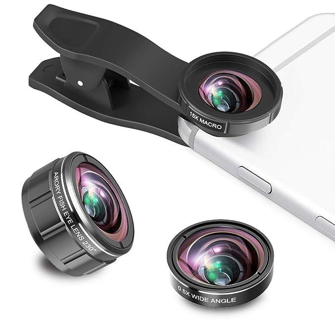 Kit de lentes para cámara de smartphone, lente ojo de pez de 230 ...
