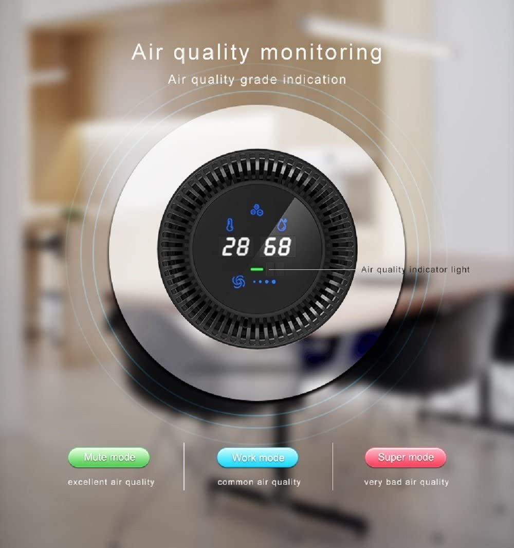 True HEPA Filter Air Purifier with Gesture Control,No Ozone,Removing Smoking Dust Pollen and Bad Odors,Perfect for Car Office Desktop Pets Dander Kitchen Grey