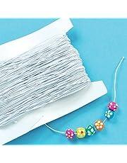 Baker Ross Goma elástica blanca para actividades infantiles de manualidades con cuentas y bisutería 30 m