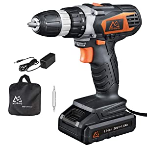 "Cordless Drill, 20V Cordless Drill Driver with 1x1.5Ah Batteries, Fast Charger 1.3A, 18+1 Torque Setting, 2-Variable Speed Max Torque 250 In-lbs, 3/8"" Keyless Chuck"