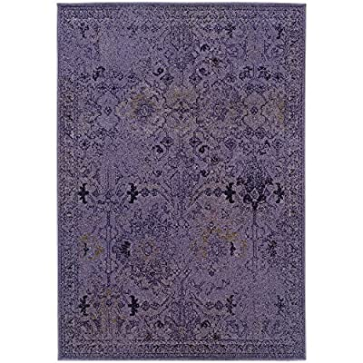 Vintage Inspired Rug, Purple Overdyed Distressed Non-Shed Stain Resistant Carpet