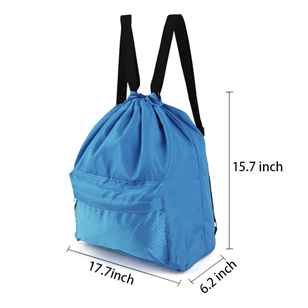 b2bced1132 Amazon.com  Zmart Beach Backpack Portable Waterproof Gym Swim Pool  Drawstring Bag Blue