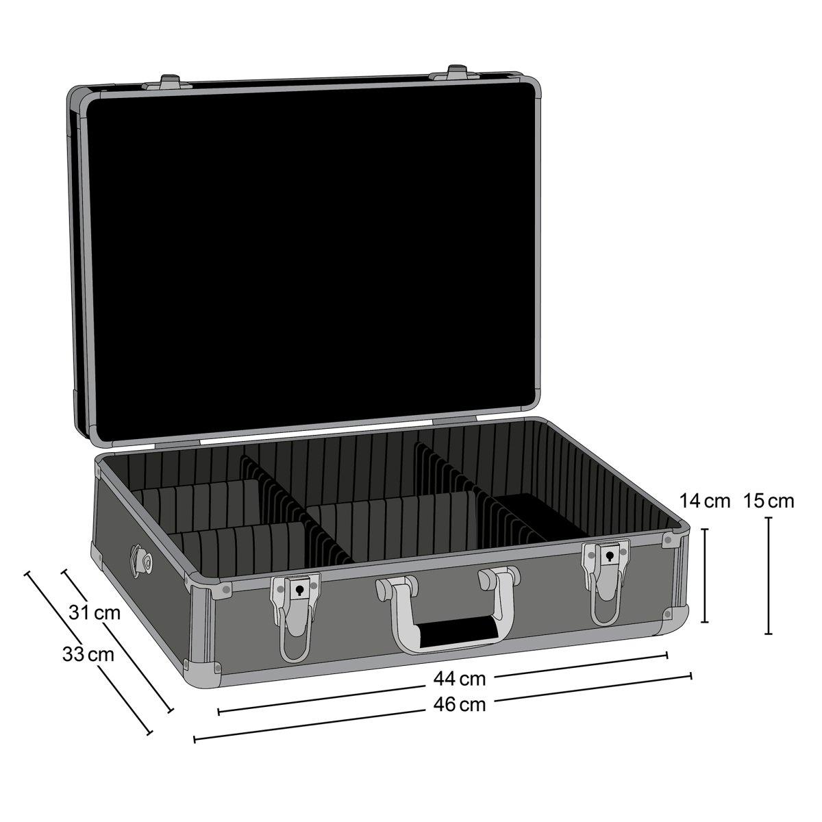 avec 2 s/éparateurs, sangle de transport amovible, verrouillable Mantona Valise photo Basic M noir//m/étallique