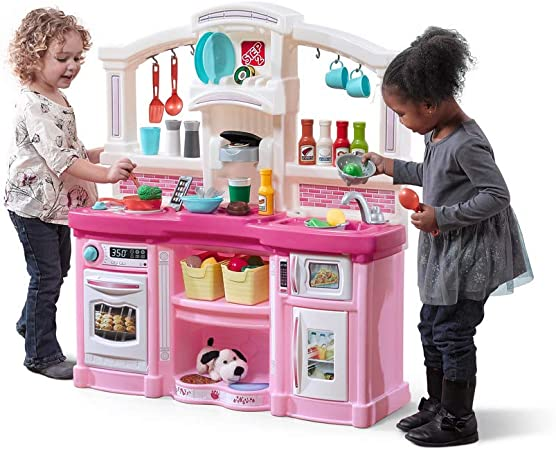 Purple Plastic Play Kitchen Durable Kids Kitchen Playset with Lights /& Sounds Step2 Great Gourmet Kitchen