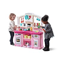 Step2 Fun with Friends Kitchen | Pink Kitchen with Realistic Lights & Sounds |Play Kitchen Set | Pink Kids Kitchen Playset & 45-Pc Kitchen Accessories Set