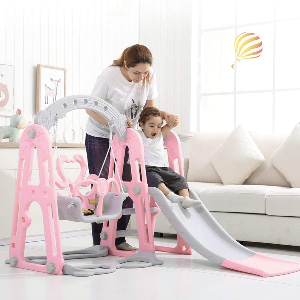 Toddler Climber Swing,BLACKOBE Slide Swing Combo,3 in 1 Climber Sliding Playset with Basketball Hoop,Plastic Play Slide Climbing Ride for Kids Climb Stairs,Kids Playset for Indoors and Backyard,Pink