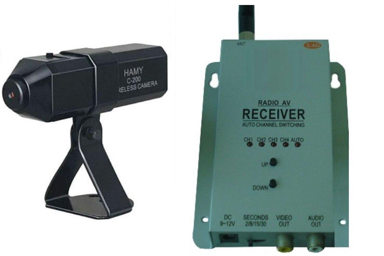 KesCom ® 830M mini caméra couleur sans fil avec vision nocturne sans surveillance de sécurité 1 à 4 canaux direct dur l'appareil réglable avec 4 canaux avec récepteur 2,4 gHZ