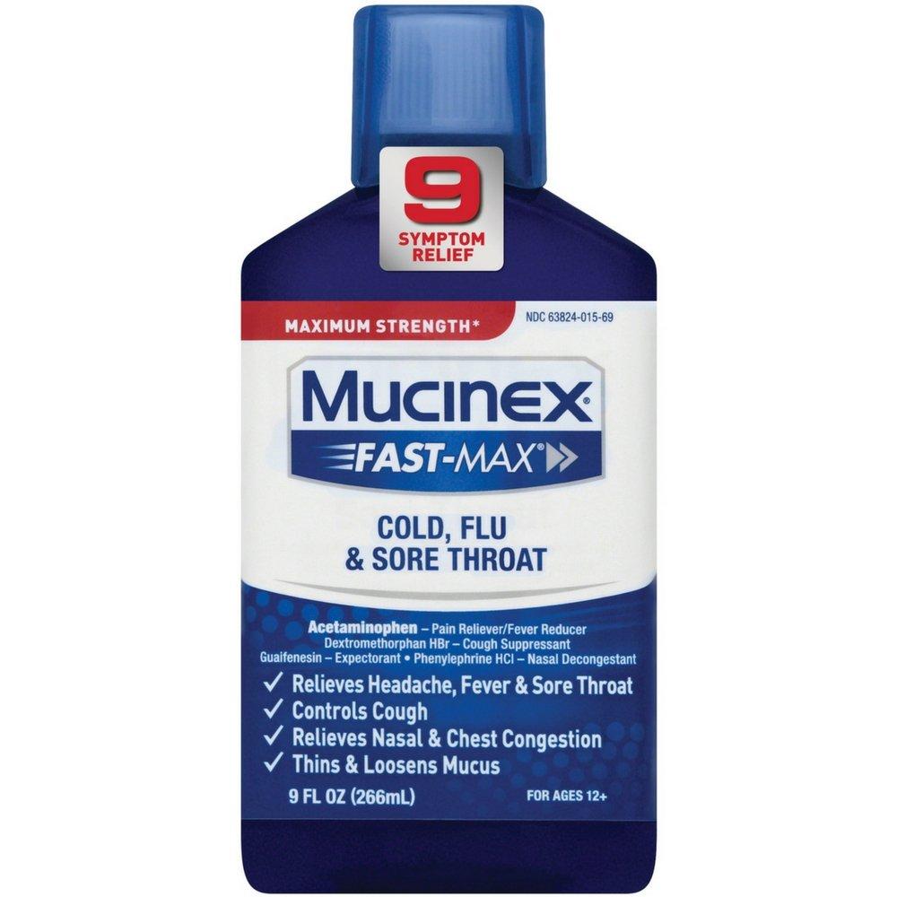 Mucinex Fast-Max Adult Liquid - Cold, Flu, & Sore Throat 9 oz (Pack of 12)