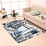 Sophiehome skid Slip rubber back antibacterial  Area Rug large industrial water treatment and boiler room shiny steel metal pipes and blue pumps and valves 469566881 Home Decorative
