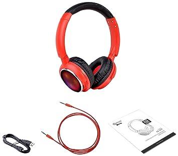 Contixo KB-300 85DB Auriculares Inalámbricos Bluetooth LED con Limitador De Volumen, Micrófono Incorporado, Micro SD, Radio FM Estéreo (Rojo): Amazon.es: ...