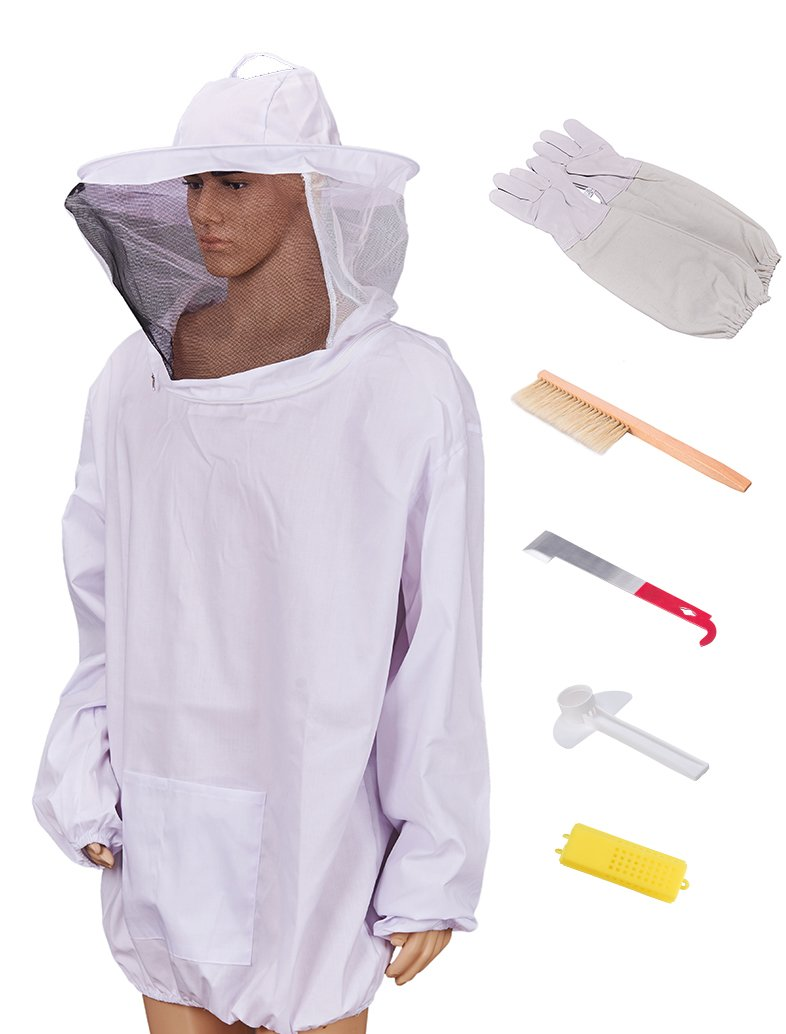 BEECASTLE Beekeeping Jacket with Gloves, Beehive Brush, J Hook, Queen Cage and Bee Feeder, 6 Necessary Bee Keeping tools Set (XL)