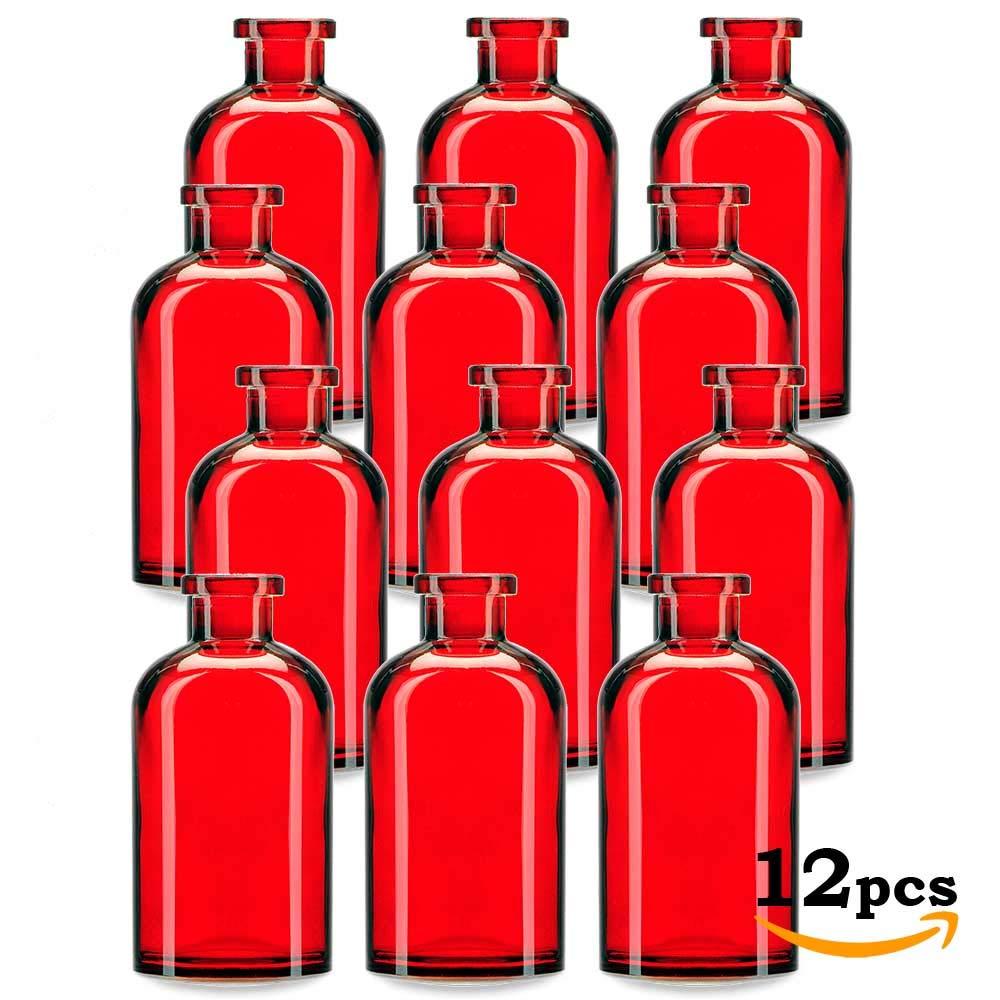 Glassnow, Red C6534G06-N Apothecary Glass Bottle No Cork, 8oz, 12 Pieces by Glassnow