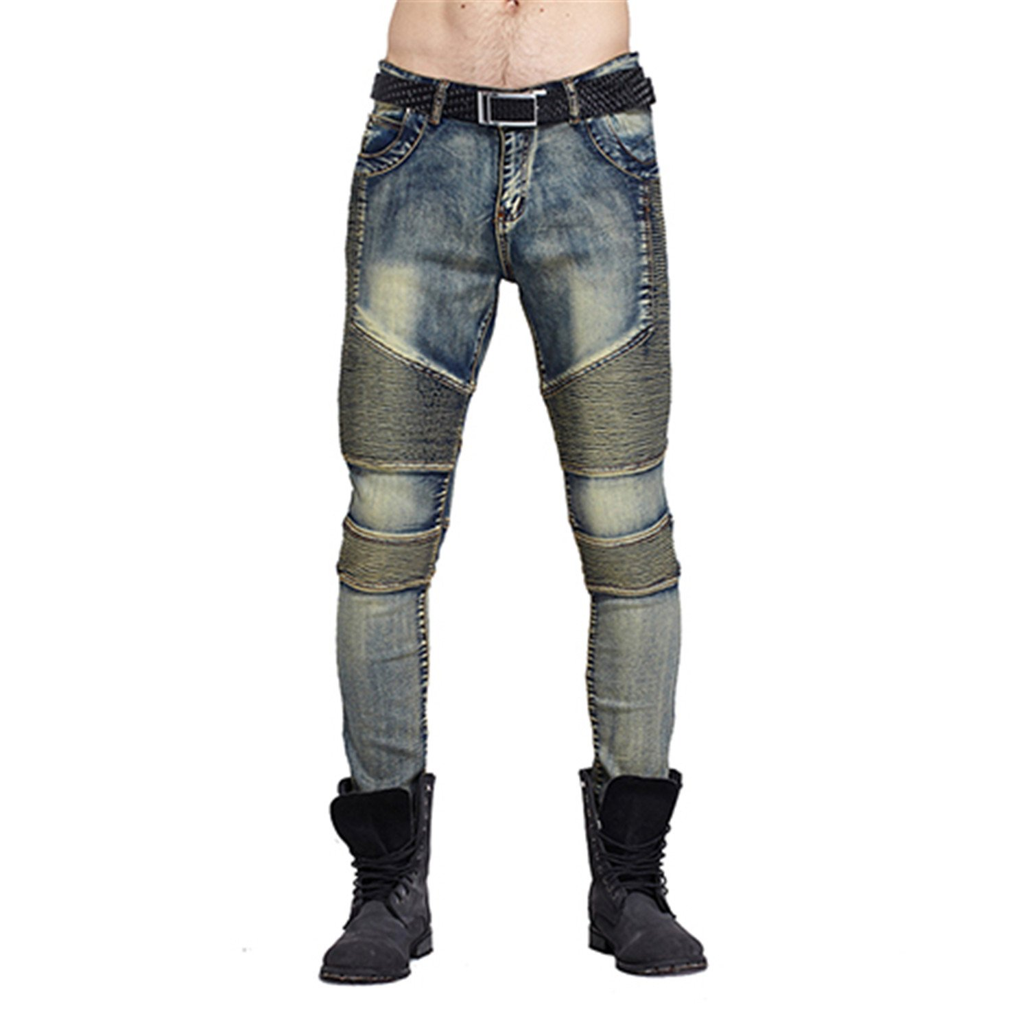 Karl Conner Fashion Streetwear Mens Ripped Biker Motorcycle Slim Fit Strech Jeans Skinny