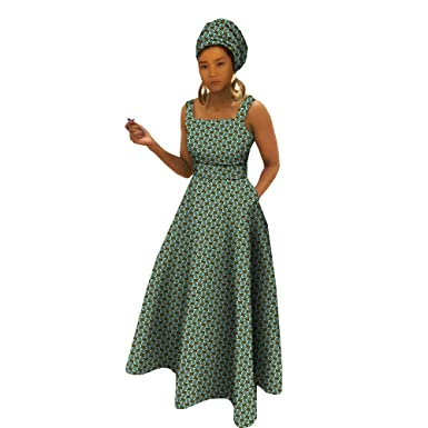 09b1538ec0a Amazon.com  Private Customized African Dresses for Women Apparel Ankara  Clothing Clothes Dashiki Girl Floral Print+Headwrap 35×45 inch  Clothing