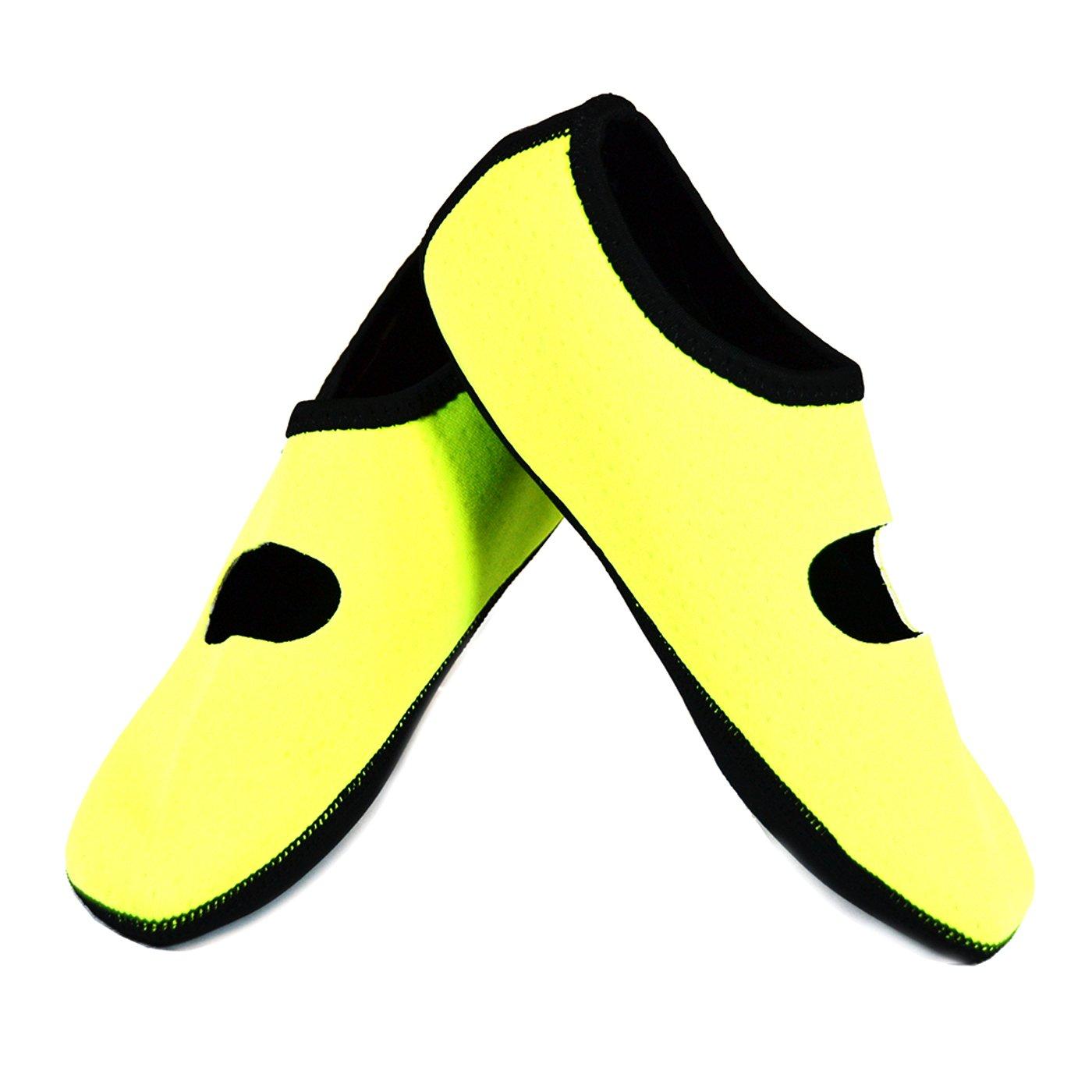 NuFoot Mary Janes Women's Shoes, Best Foldable & Flexible Flats, Slipper Socks, Travel Slippers & Exercise Shoes, Dance Shoes, Yoga Socks, House Shoes, Indoor Slippers, Neon Yellow, Medium