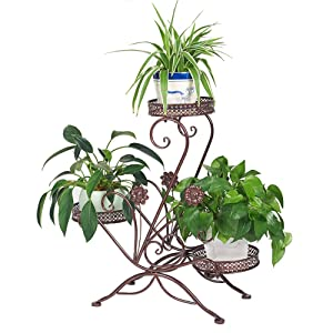 "AISHN 3-Tiered Scroll Classic Plant Stand Decorative Metal Garden Patio Standing Plant Flower Pot Rack Display Shelf Holds 3-Flower Pot with Modern""S"" Design"