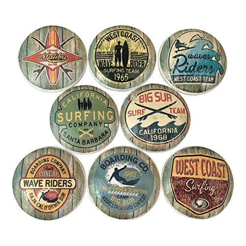 - Set of 8 Surf Shop Nautical Wood Cabinet Knobs