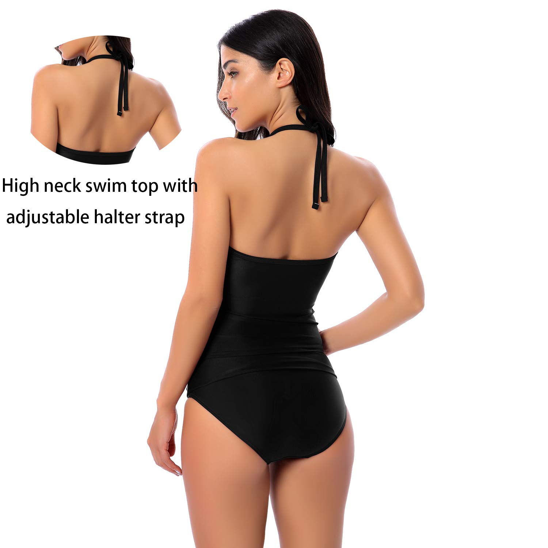 77843edfd8c ALLEN & SEAN Women Two Piece Halter Mesh Ruched Tummy Control Swimwear(FBA)  at Amazon Women's Clothing store: