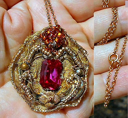 Vintage Fuchsia Czech Stone Pendant /Brooch Necklace Gold Wired Organza,Gold Bronze, Rose Seed Beads, Gold Lined Amber Beads. OOAK