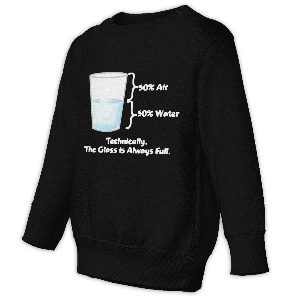 GHYNJUM Technically The Glass is Completely Kids Unisex Cotton Long Sleeve Round Neck Pullover
