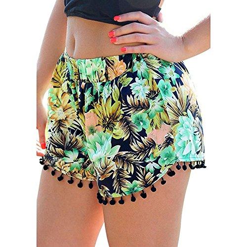 PinRoad Womens Small Balls Tassel Edge Floral Print Beach Shorts,Yellow/Green