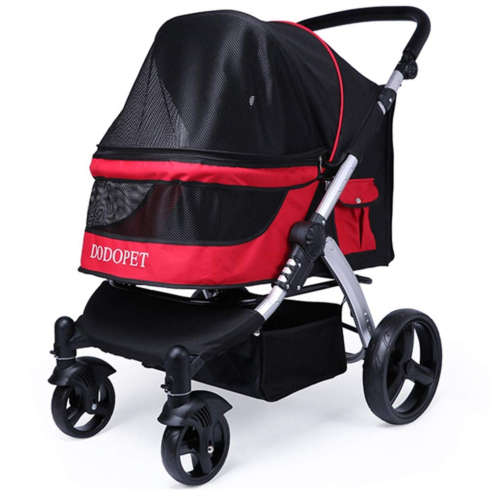 Red Pet Stroller,Large Dog Cart,Multiple Cats and Dogs,Out Cart (color   Red)