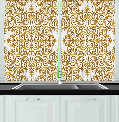 Ambesonne Kitchen Decor Collection, Victorian Golden Lace Antique baroque pattern oriental ottoman royal square pattern, Window Treatments for Kitchen Curtains 2 Panels, 55X39 Inches, White (White Gold Curtains)